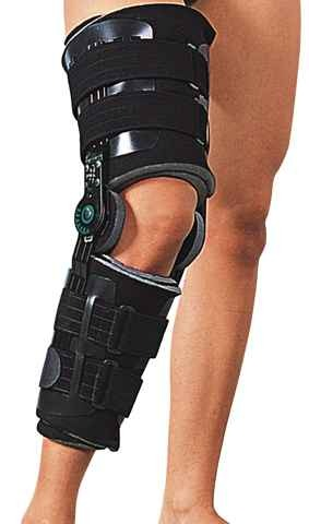 Post-operatory knee brace with range-of-motion system REGAIN
